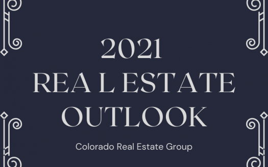 "blue and grey graphic with ""2021 Real Estate Outlook"" graphic"