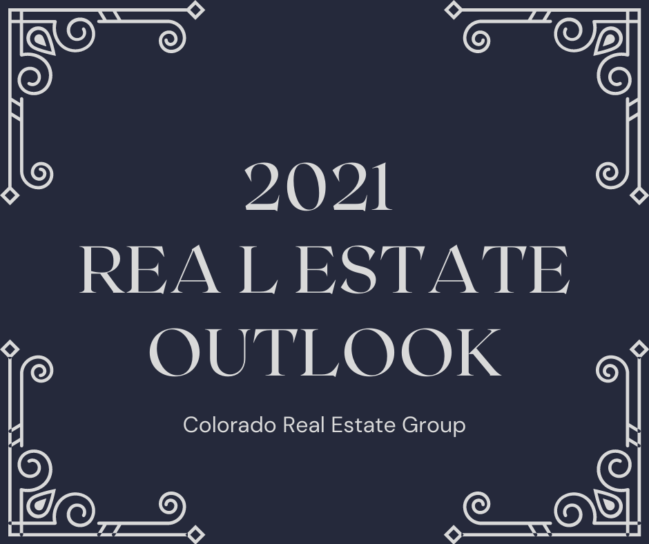 """blue and grey graphic with """"2021 Real Estate Outlook"""" graphic"""