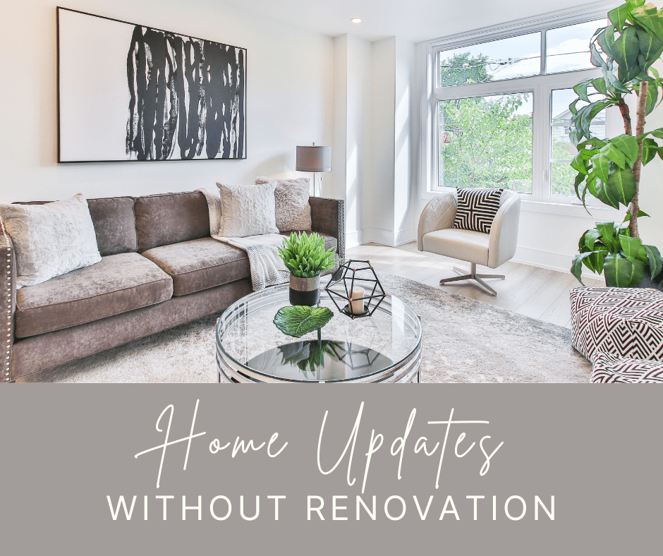 """photo of living room with caption that says """"Home Updates Without Renovation"""""""