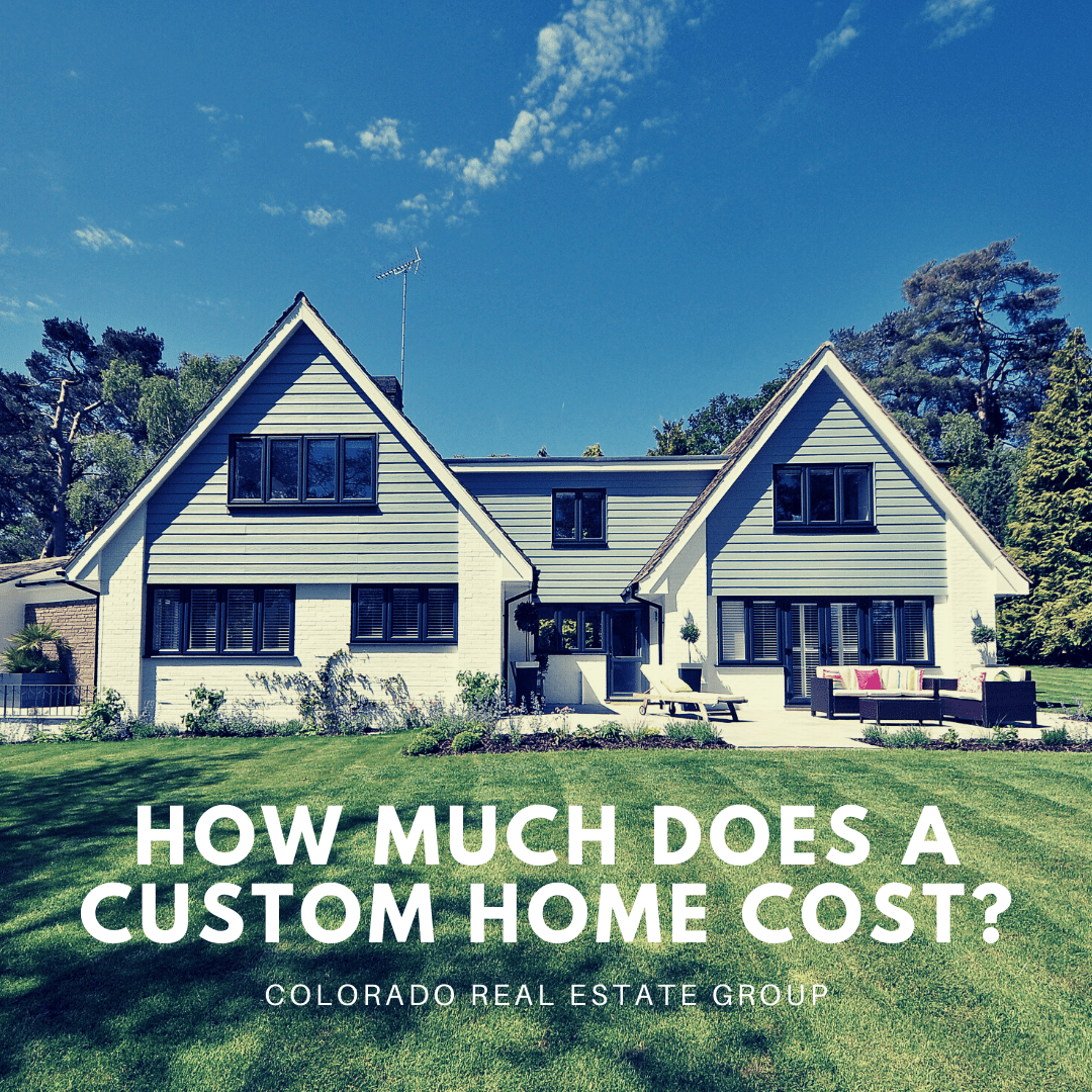 """image of home with green lawn and trees with """"How much does a custom home cost?"""""""