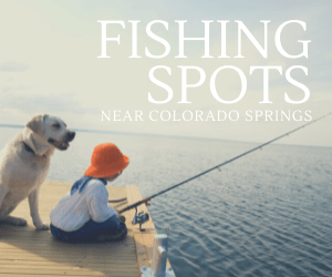 """image of young boy fishing on a dock with a dog with caption """"Fishing Spots Near Colorado Springs"""""""