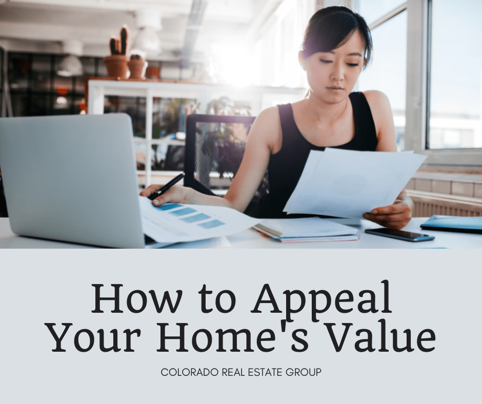 """image of woman looking at paperwork with laptop and caption """"How to Appeal Your Home's Value"""""""