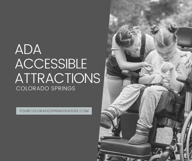 """image of young girl in wheelchair with """"ADA Accessible Attractions Colorado Springs"""" caption"""