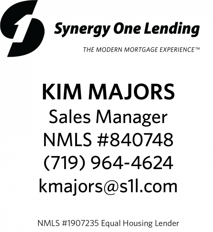 graphic image with Synergy One Lending logo and contact information for Kim Majors